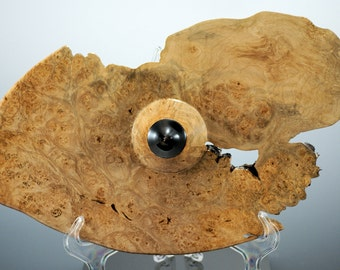 Wooden Center Piece Hand Made from Maple Burl and African Blackwood, A2732