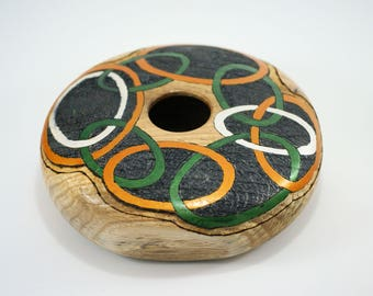 Wooden Art Vessel Hand Made from Oregon Oak, Titled Rings, A2926