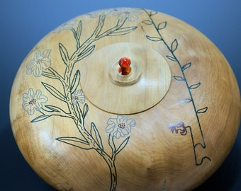 Large Wooden Vessel Hand Made of Figured Maple with Lid, A2467