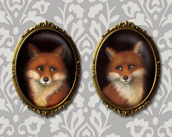 Fox Brooch Oval, Fox Pin, Fox Portrait Brooch, Fox Art, Fox Lover's Gift, Fox Couple, Gift for Her, Valentine's Day, Stocking Stuffer