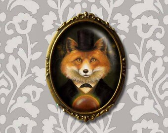 Victorian Fox Brooch, Fox Pin, Fox Brooch, Fox Portrait, Oval Brooch, Gothic, Steampunk, Halloween, Spiritualist Fox, Fox Lover