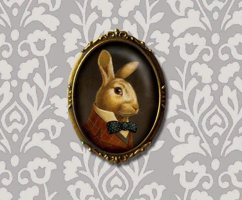 Rabbit Portrait Brooch White Rabbit Pin March Hare  Bunny image 0