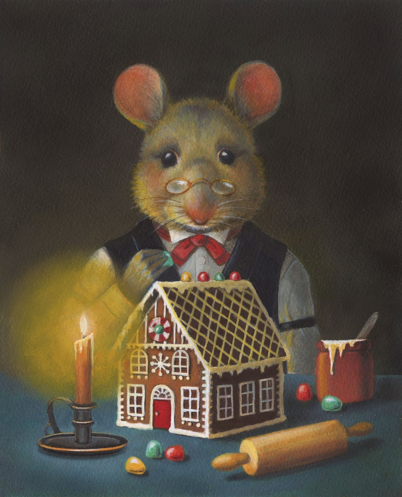 Gingerbread Mouse Print Christmas Mouse  Mouse Art  Mouse image 0