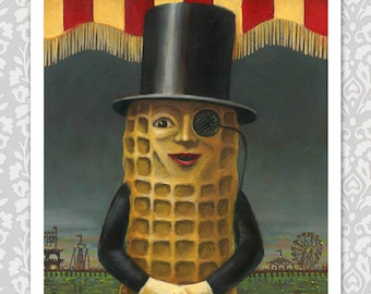 Mr. Peanut Print, Vintage Mr Peanut Art, Vintage Atlantic City, Retro Food Print, Boardwalk, Vintage, Anthropomorphic Food, Amusement Park