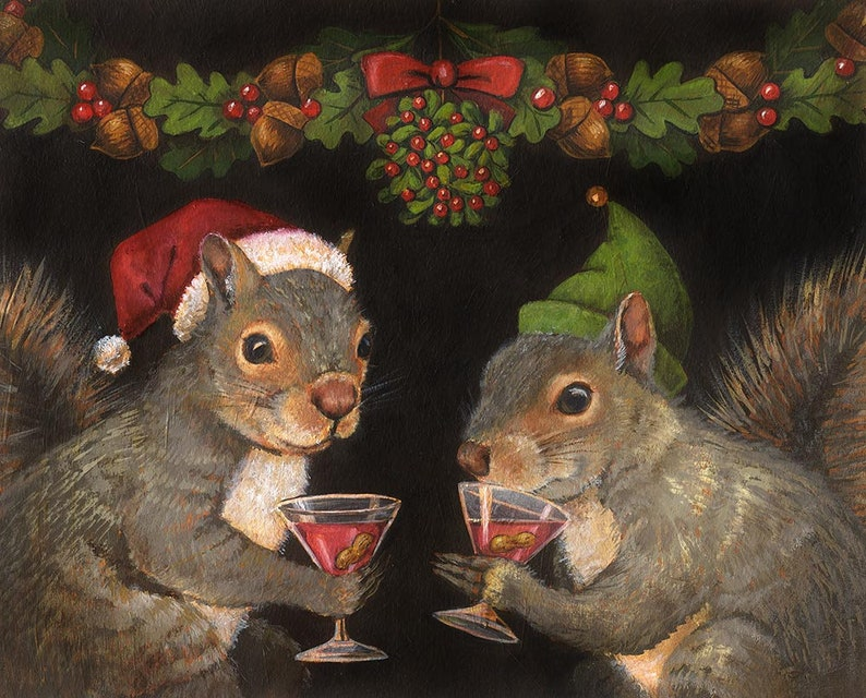 Christmas Squirrel Print Santa Squirrel Portrait Squirrel image 0