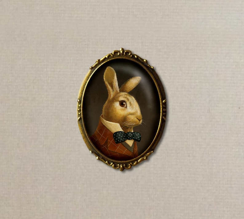Rabbit Portrait Brooch White Rabbit Pin March Hare  Bunny image 0