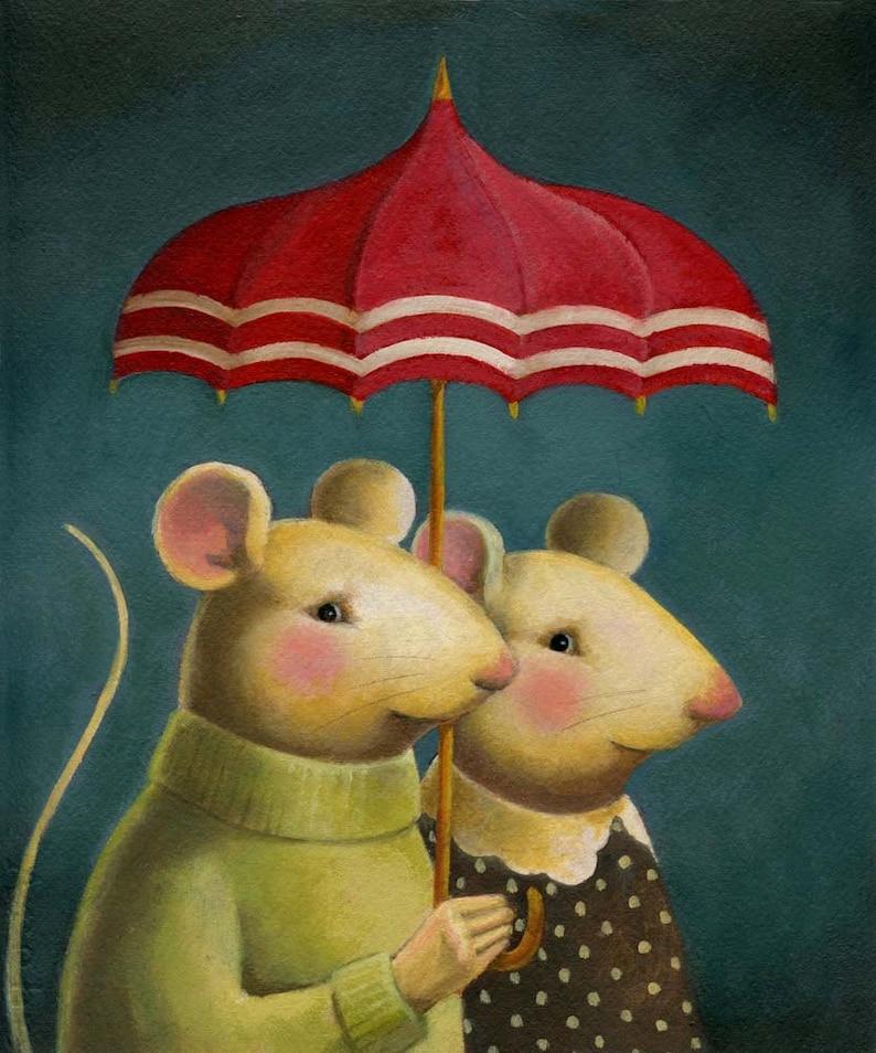 Mouse Portrait Print  Mouse Couple  Animal Portrait  image 0