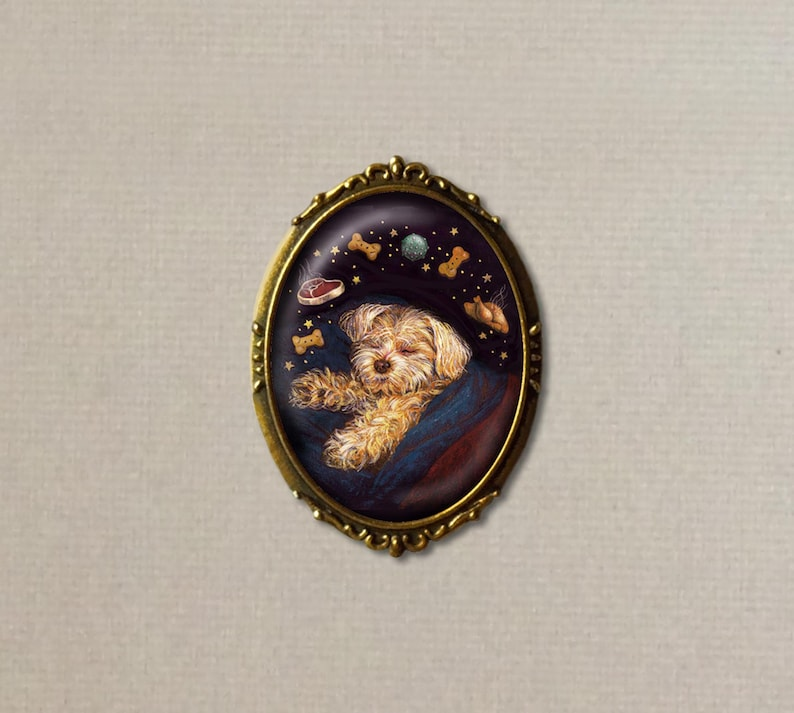 Dog Brooch Dreaming Dog Pin Dog Art Dog Lover's Gift image 0