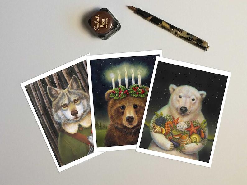 Christmas Bear Cards  Bear Notecard  Wolf Card  Polar Bear image 0