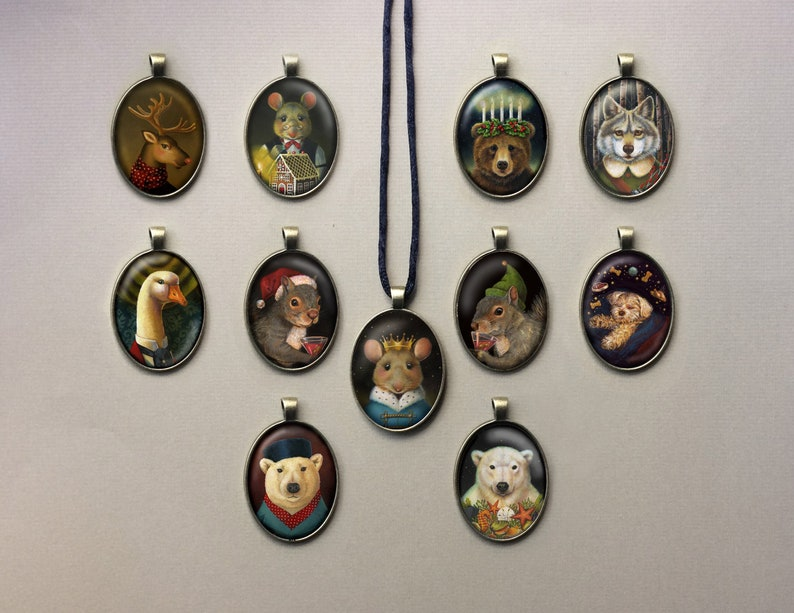 Christmas Animal Pendant Victorian Necklace Polar Bear image 0