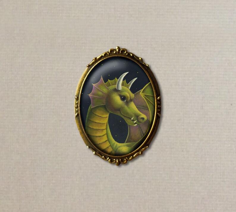 Dragon Brooch Dragon Portrait Pin Oval Lapel Pin Green image 0
