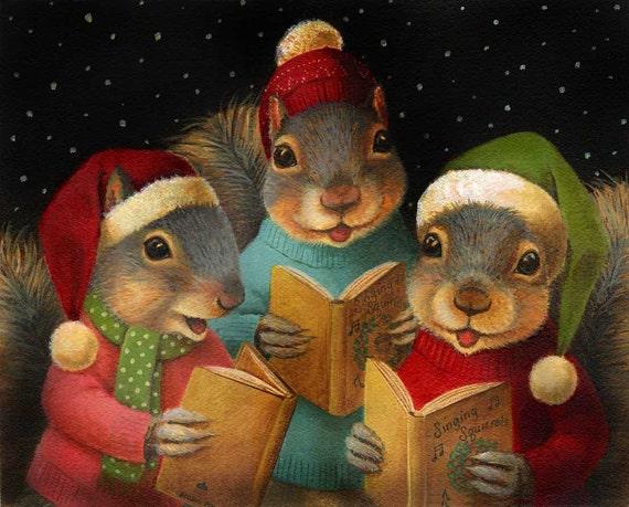 Christmas Squirrel.Christmas Squirrel Ornament Christmas Carol Ornament Squirrel Lover Gift Singing Squirrels Anthropomorphic Animal Ornament Funny Cute