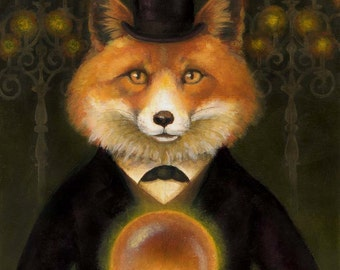 Victorian Fox Portrait - Fox Print - Fox Art - Gothic Animal - Spiritualist Fox Print - Hypnotism - Spiritualism - Medium