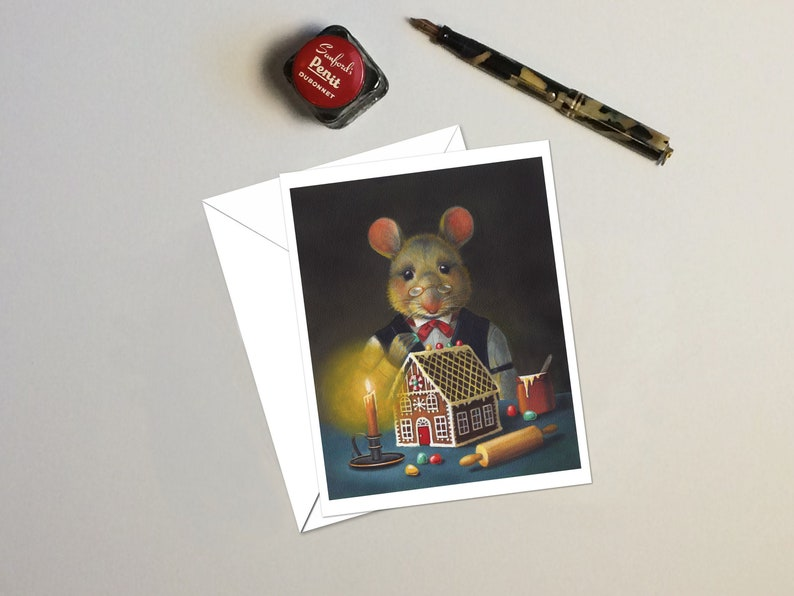 Gingerbread Mouse Christmas Cards Christmas Mouse Victorian image 0