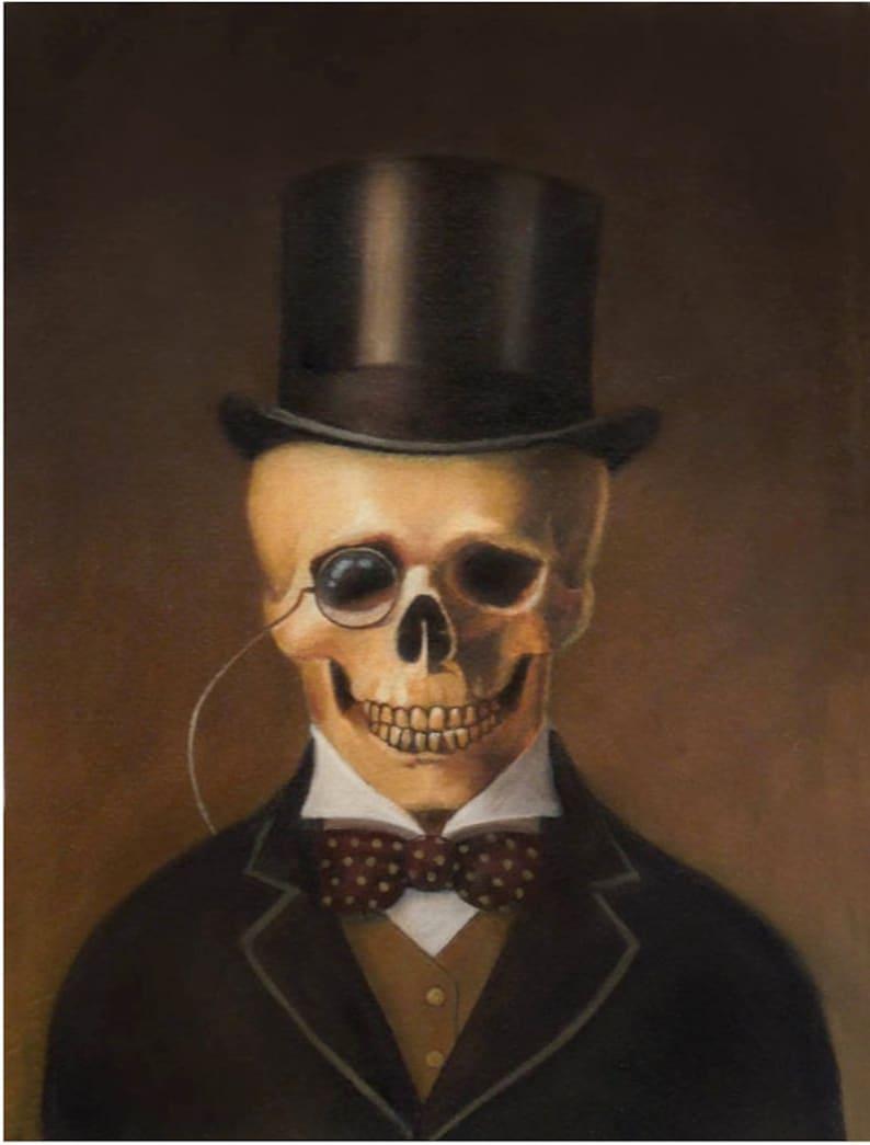 Skeleton Print Skull Print Gothic Art Victorian Steampunk image 0
