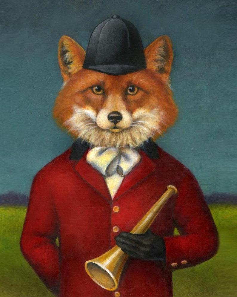 Fox Hunt Print  Fox Portrait  Fox Art Equestrian Art  image 0