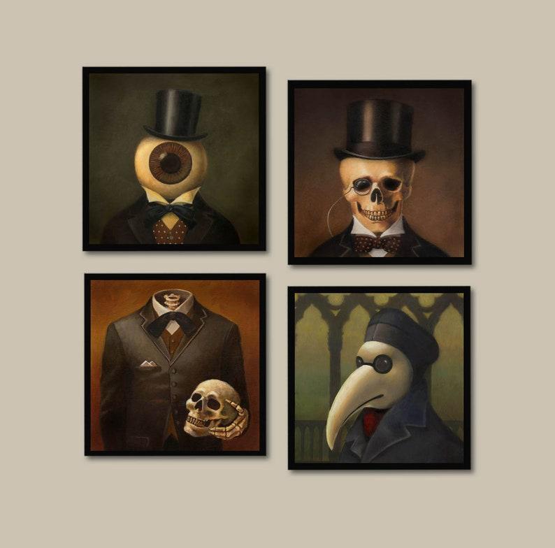 Gothic Coasters  Victorian  Steampunk Coaster Set  Skull  image 0