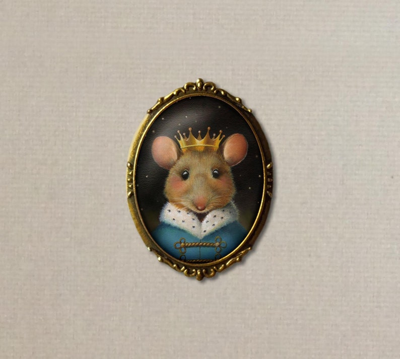 Mouse Brooch  Mouse Pin  Mouse King  Christmas Mouse Pin  image 0