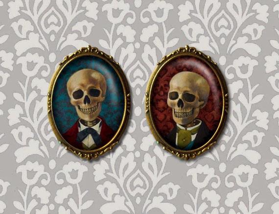 Skull Brooch Skull Pin Skeleton Portrait Brooch Oval  fe0f04121868
