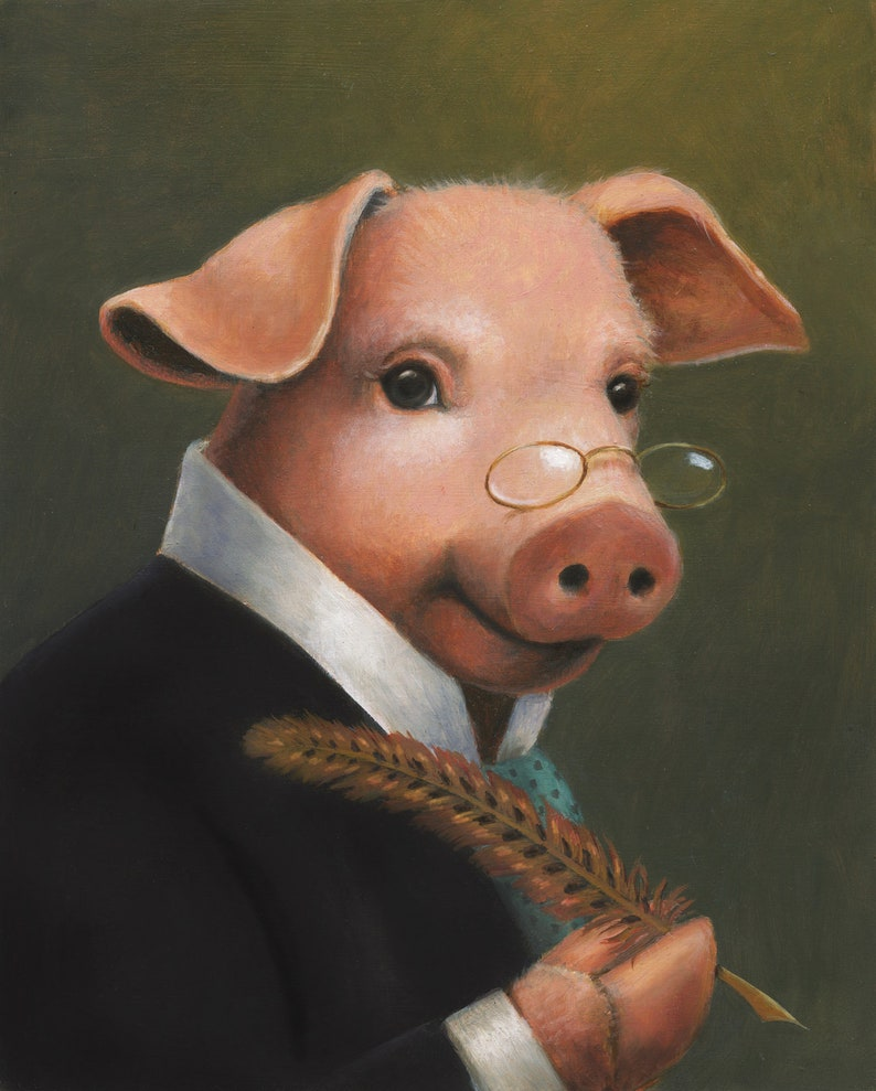 Pig Portrait Print Pig Art Animal Portrait Pig Lover Gift image 0
