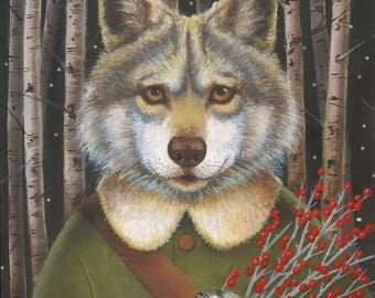 Wolf Print, Woodland Wolf Portrait, Christmas Wolf, Big Bad Wolf print, Red Riding Hood Wolf, Three Little Pigs,
