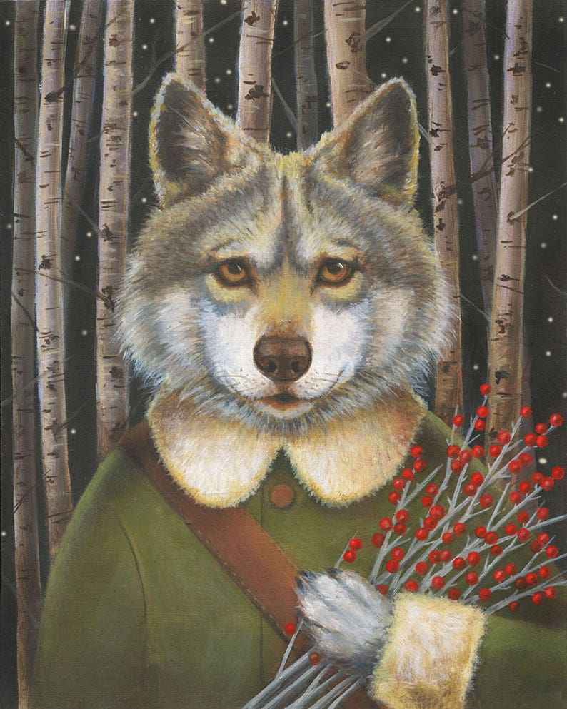 Wolf Print Woodland Wolf Portrait Christmas Wolf Big Bad image 0