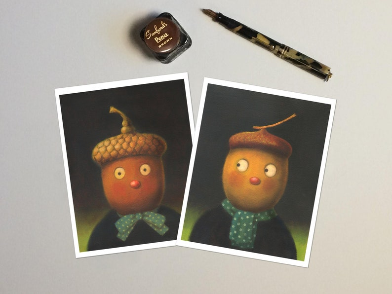 Acorn Notecards Autumn Cards Thanksgiving Cards Halloween image 0