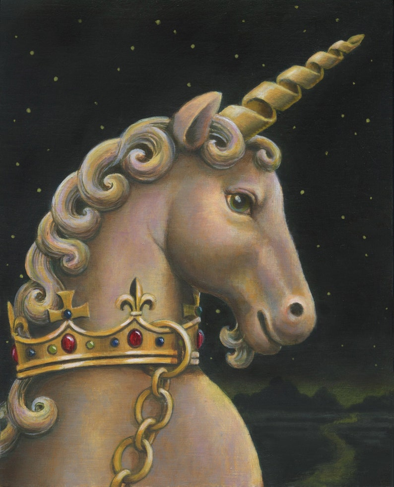 Unicorn Print Unicorn Art Portrait Mythical Creature image 0