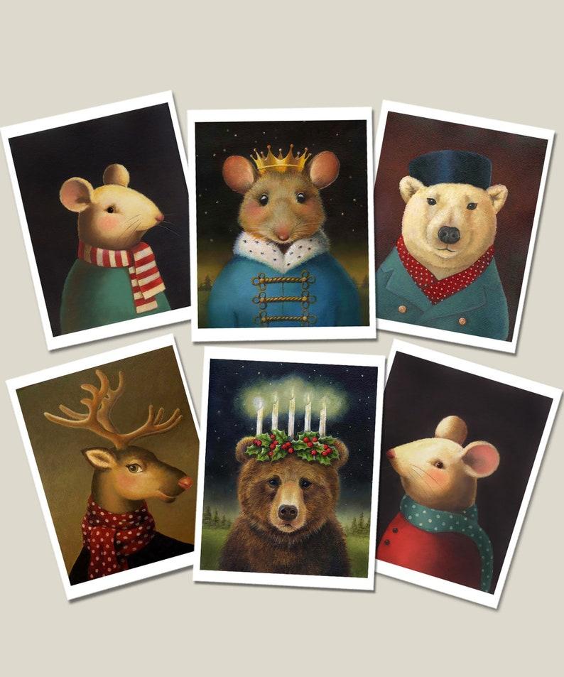 Christmas Animal Notecards  Card Set of 6   Mouse King image 0