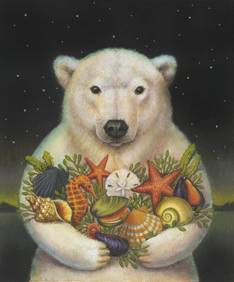 Polar Bear Print Sea Bear Portrait Christmas Bear Arctic image 0