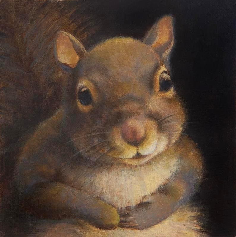 Squirrel Portrait Print Squirrel Art Animal Art Grey image 0