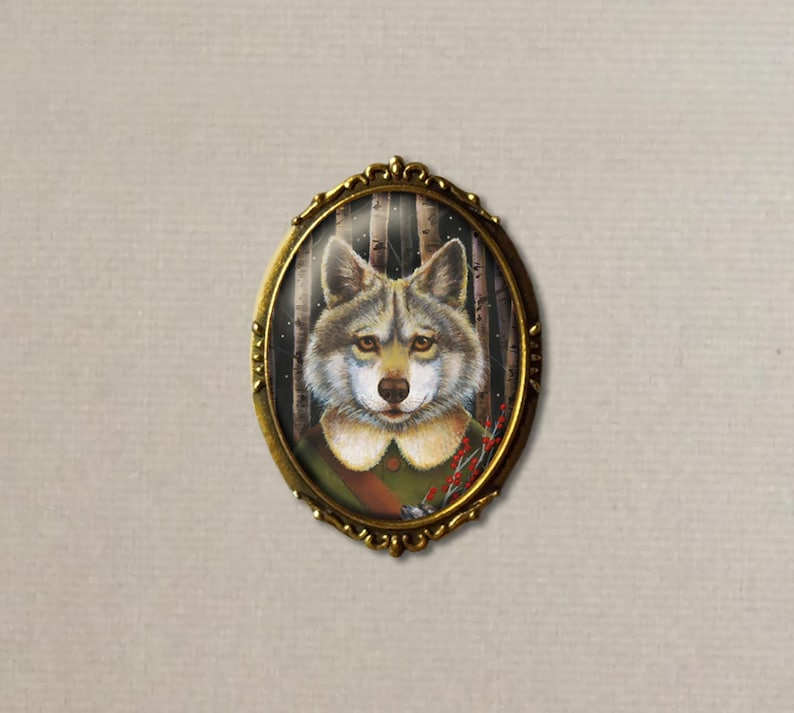 Wolf Brooch  Woodland Wolf Pin  Christmas Pin  Red Berries image 0