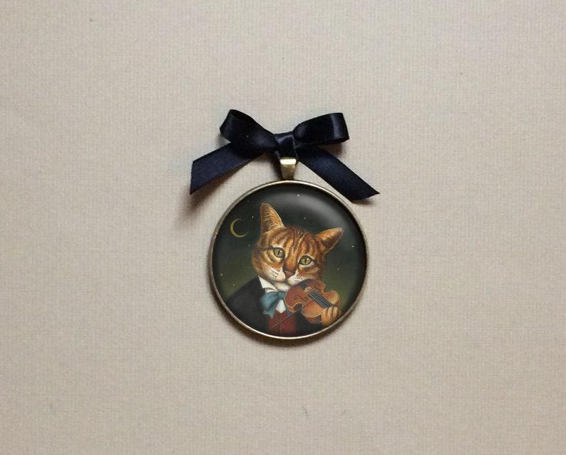 Cat and Fiddle Ornament Cat Portrait Miniature  Christmas image 0