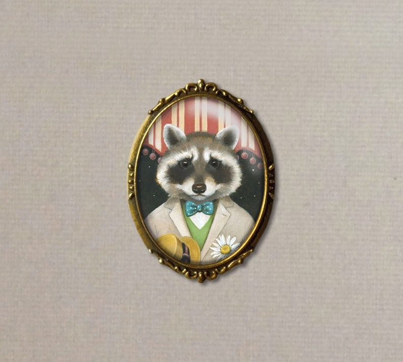Raccoon Brooch Raccoon Dandy Pin Valentine's Day image 0