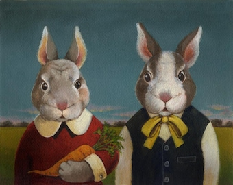 Rabbit Portrait Print - Rabbit Couple - Bunny Rabbit - Easter Rabbit - Easter Bunny - Farm Rabbit