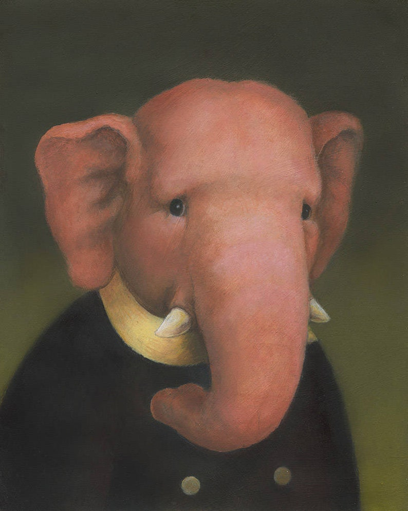 Elephant Print Pink Elephant Elephant Art Elephant Lover image 0