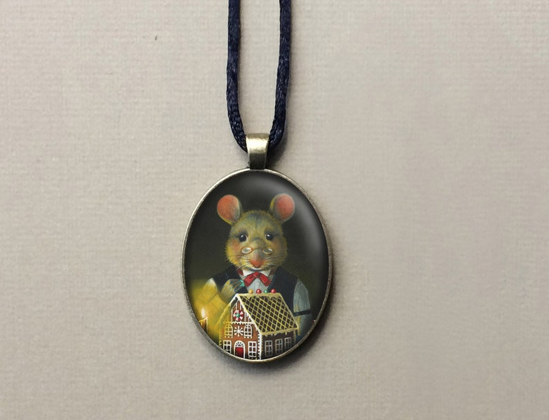 Gingerbread Mouse Christmas Pendant Oval Mouse Necklace image 0