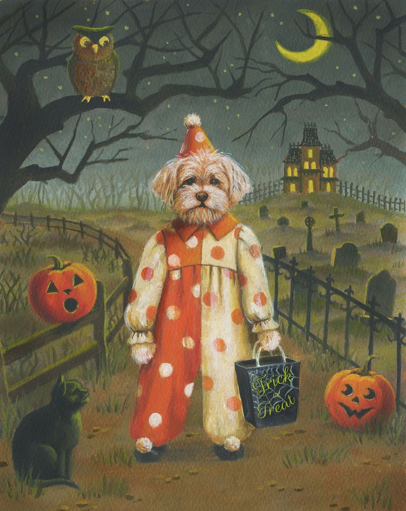 Dog Trick or Treat  Print Dog Halloween Art  Funny Dog Print image 0