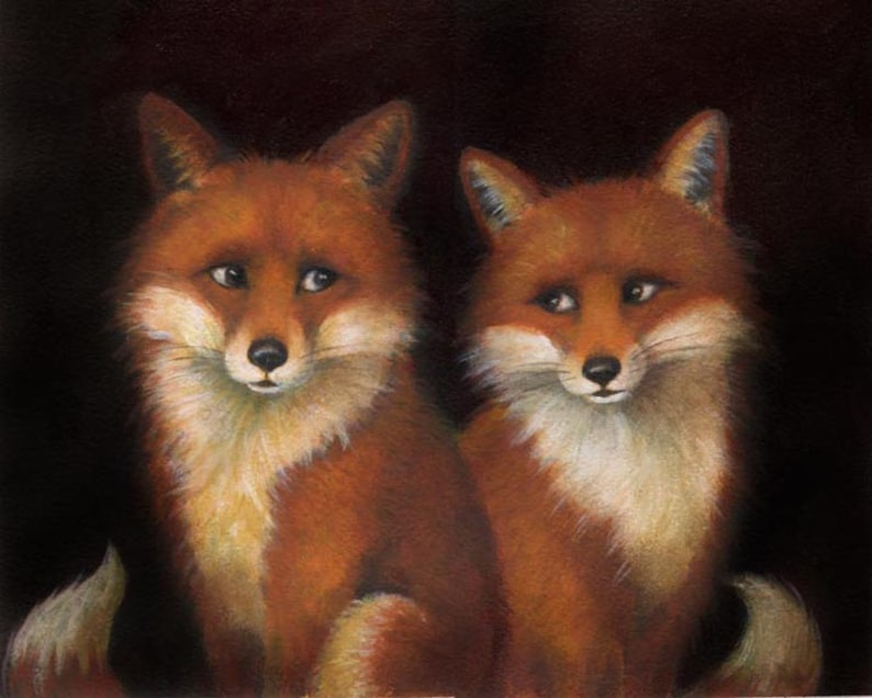 Fox Portrait Print   Fox Art  Fox Painting  Animal Portrait image 0