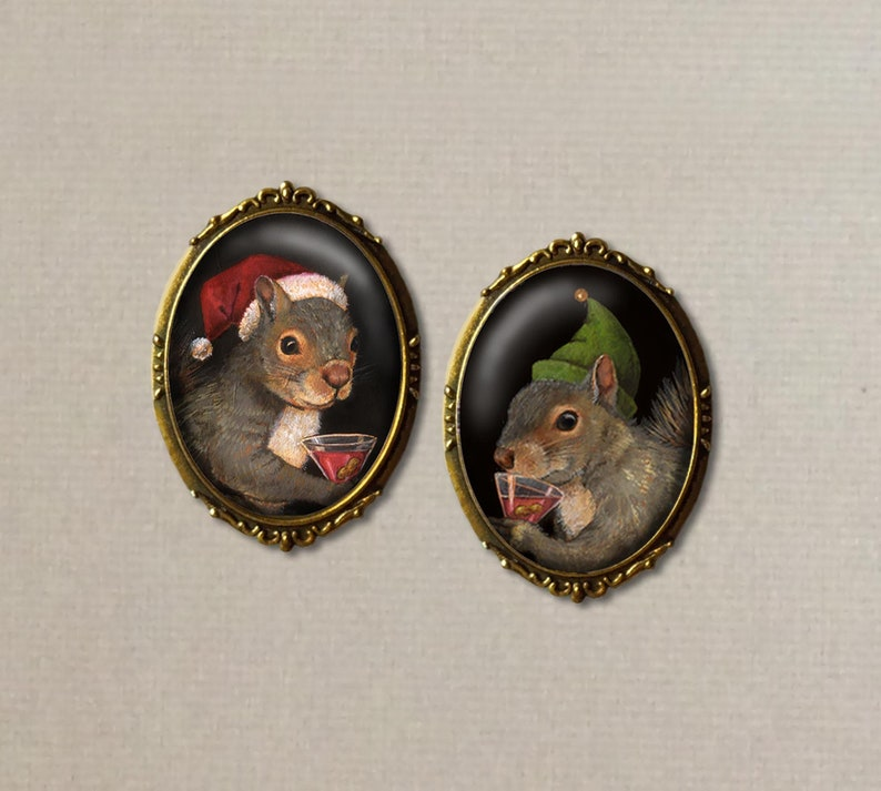 Squirrel Brooch Christmas   Christmas Pin  Squirrel Brooch image 0