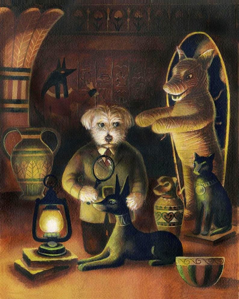 Egyptian Dog Portrait Print Dog Art Dog Mummy Dog image 0