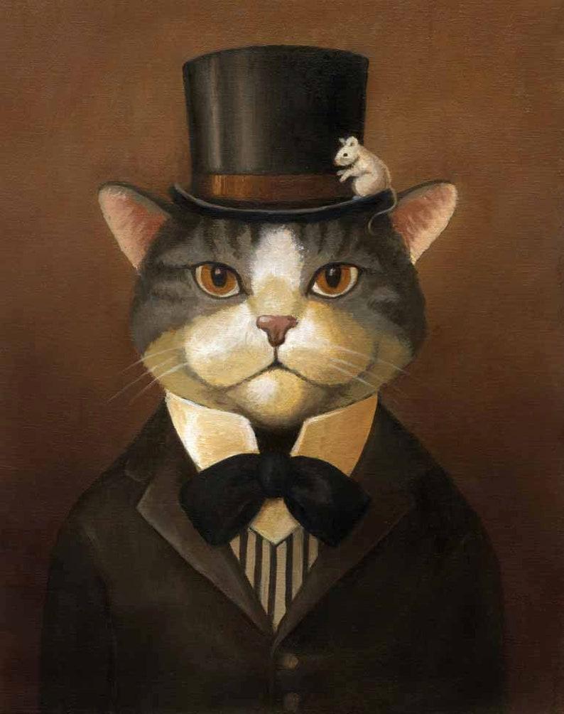Victorian Cat Portrait Print  Cat Dandy  Gothic Cat Cat Art image 0