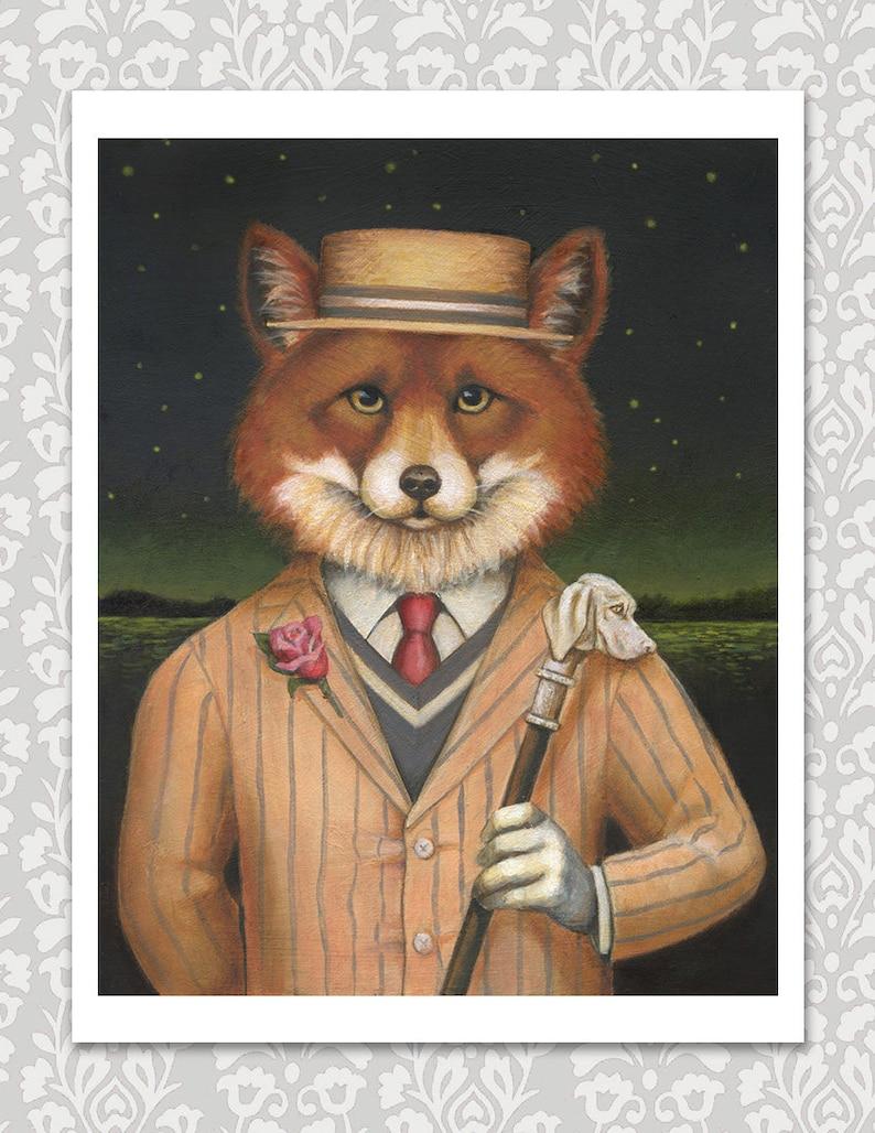 Fox Dandy Print  Jazz Age Fox Portrait  Fox Art Great image 0