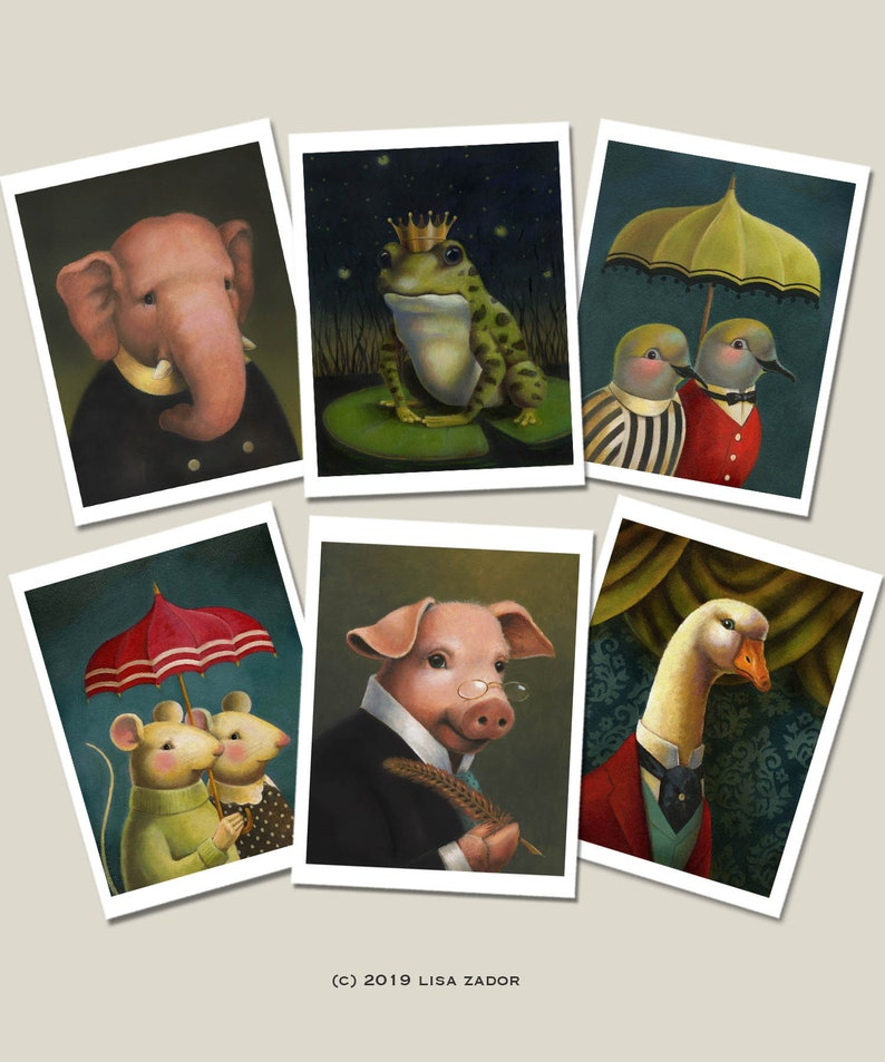 Animal Note Cards Funny Animal Cards Whimsical Cute Animal image 0