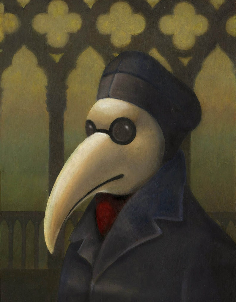 Venetian Plague Doctor  Steampunk Portrait Gothic Bird image 0
