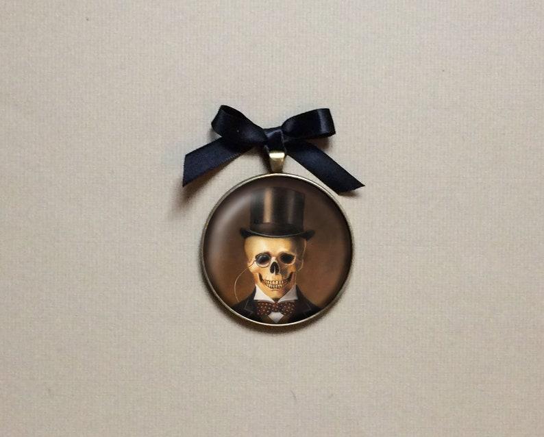 Skeleton Ornament Gentleman Skull Ornament Gothic Gallery image 0