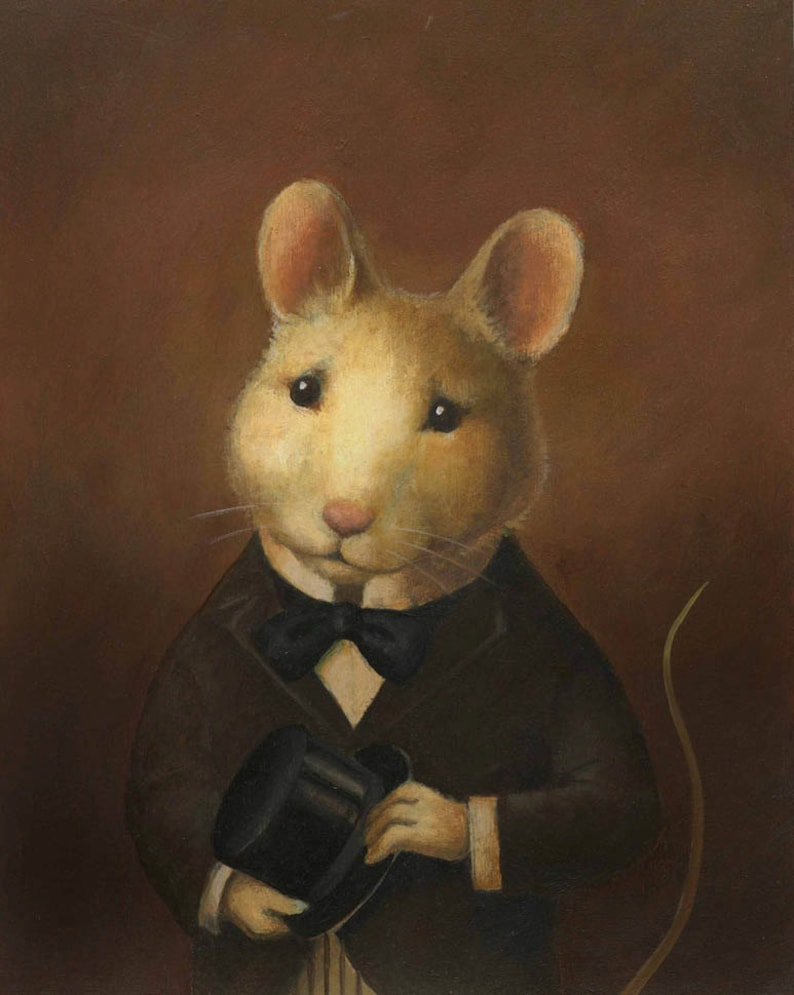 Mouse Print Victorian  Mouse Art  Animal Portrait Animal image 0
