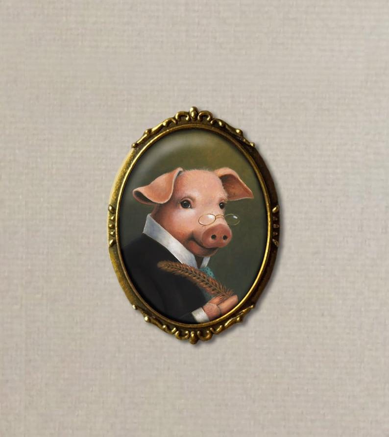 Pig Brooch Pig Pin Oval Pin Farm Brooch Barnyard Animal image 0
