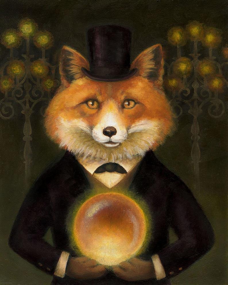 Fox Print  Fox Art  Victorian Fox Portrait  Gothic Animal  image 0
