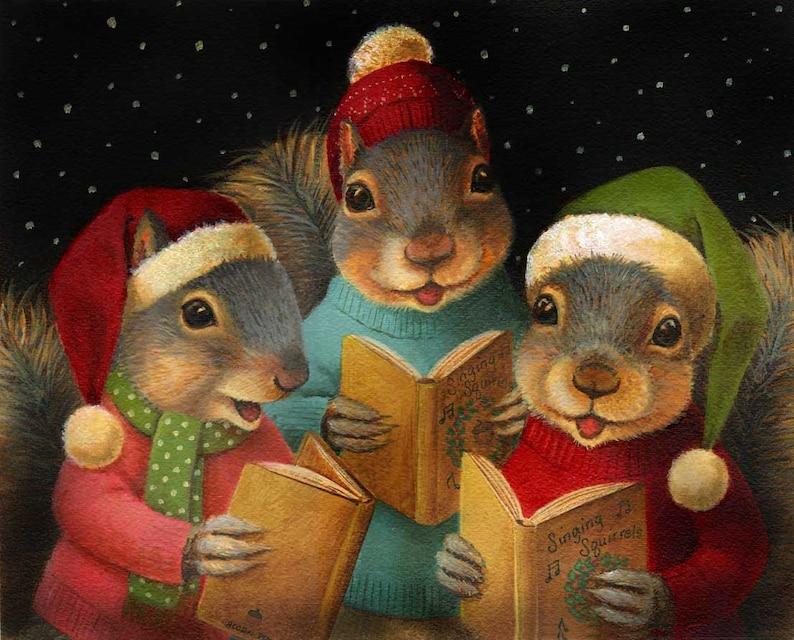 Squirrel Christmas Print  Christmas Squirrel Print  Singing image 0